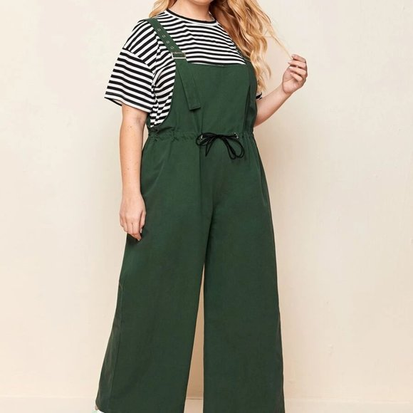 SHEIN Plus Size Army Green Stripe Print Tee With Overall Jumpsuit Size 5X